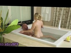 Gorgeous hot blonde bathtub play