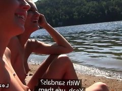 Group of lesbian girlfriends nude at lake