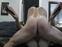 Fucking her pussy hard on the sofa