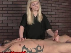Femdom meanmasseuse wanks off client