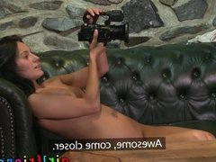Girlfriends Brunette babes eat pussy on couch