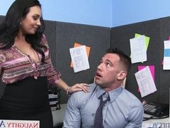 Chesty brunette Holly West ride a big cock