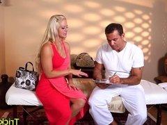 Tattooed blonde massage