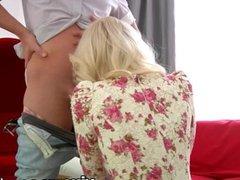 Sexy blonde vixen gives nice long blowjob