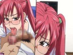 Redheaded hentai schoolgirl rides hard cock