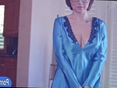 Busty wife in glasses banged on the bed