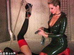 Mistress in latex toying sub blonde lesbian