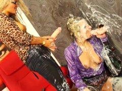 Bianca Ferrero getting bukkake showered