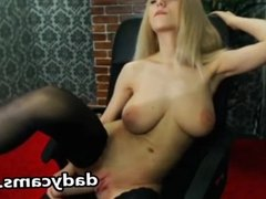 Busty blonde Masturbating Her Pussy With A se