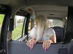 Blonde British bbw bangs in fake taxi
