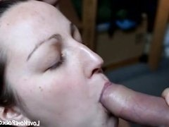 Brunette young wife takes huge facial