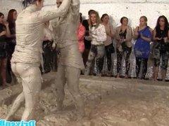 Two european beauties wrestling in mud