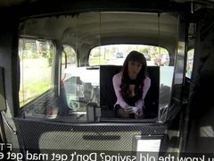 Cheated British babe fucked in fake taxi