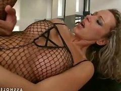 milf slut in fishnet cat sute ass fucked