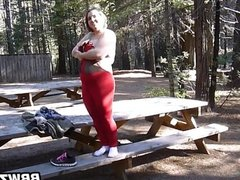 BBW Stripping Out In The Woods