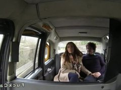 Couple fucking in fake taxi while moving