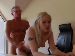 Old boss fuck deep his blonde young secretary