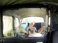 Long legged British blonde in fake taxi