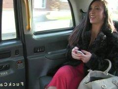Beautiful Brit gags big cock in cab