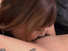 Two cute Asian sweet hearts play with a sex t