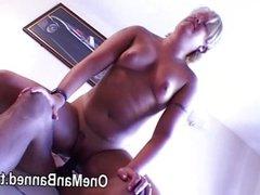 Mature housewife tastes a black cock