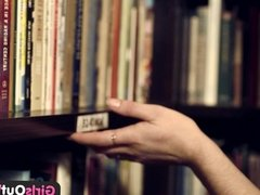 Girls Out West - Hairy lesbians in book store