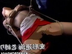 Cute Asian babe gets tied up to be boob tease