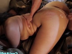 Busty asian squirted with jizz on her booty