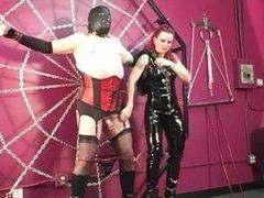 Domme Melissa torments fat slave