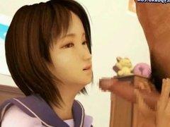 Charming anime teenie gets facial
