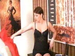 Karen masturbating in hot lingerie