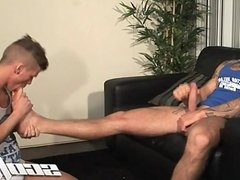 Jock Slave Licks His Buddies Feet