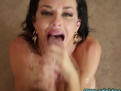 Deep throat slut swallows