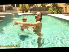 Awesome lesbian sex in the pool