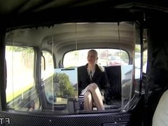 Blonde in stockings banged in taxi