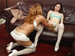 Lesbians playing with dildo