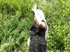 Chubby goth girlfriend flasher in outdoors
