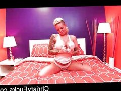 Curvy tattooed starlet Christy uses a toy