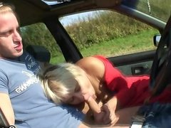 Old bitch gives head in the car