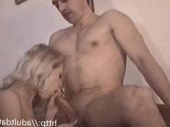 Blonde eating cock