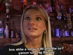 Barmaid Nikola sucks cock for money