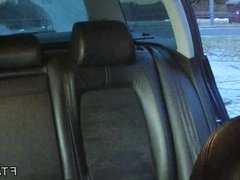 Amateur fucked from behind in taxi