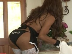 Tranny maid Jessy Dubai is double analed