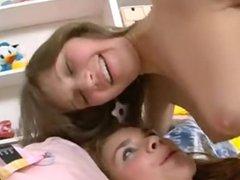 Teen lezzies using double dildo