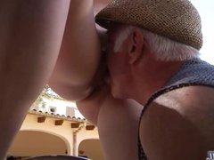 Old fart licks and fucks Denisa's young pussy