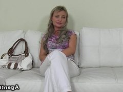 Blonde doggy style fucked on casting pov