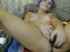 Gorgeous Blonde Cums with Double Dildo