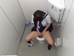 Japanese teen gets orgasm on toilet