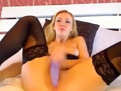 Blonde milf in stockings dildos and squirts