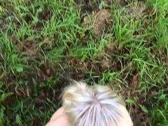 German babe hot outdoor blowjob